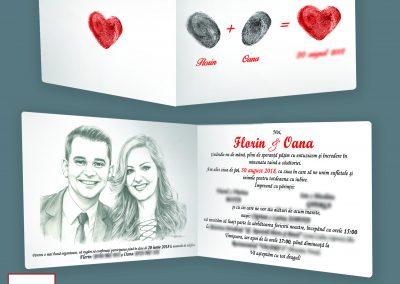 invitatie de  nunta cu amprenta  si fotografi _Florin Boita