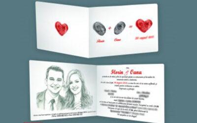 Invitatii de nunta personalizate cu fotografia mirilor / diverse teme