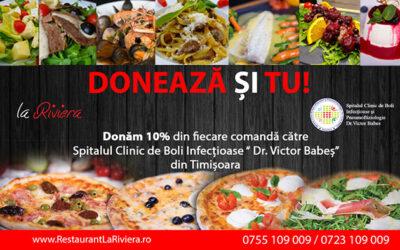 Campanie donații Restaurantul La Riviera: Contribuiți cu 10% din vânzările pe apriliei în lupta împotriva pandemiei!